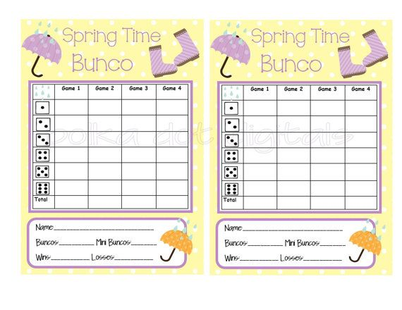 Spring Umbrella Rain Boots Bunco Score Card By Polkadotdigitals