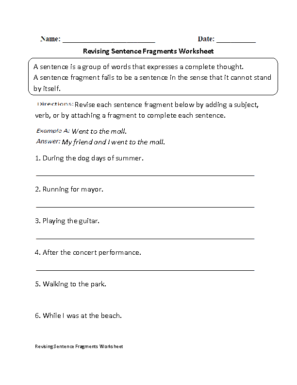 Revising Sentence Fragments Worksheet Teaching Ideas To Try