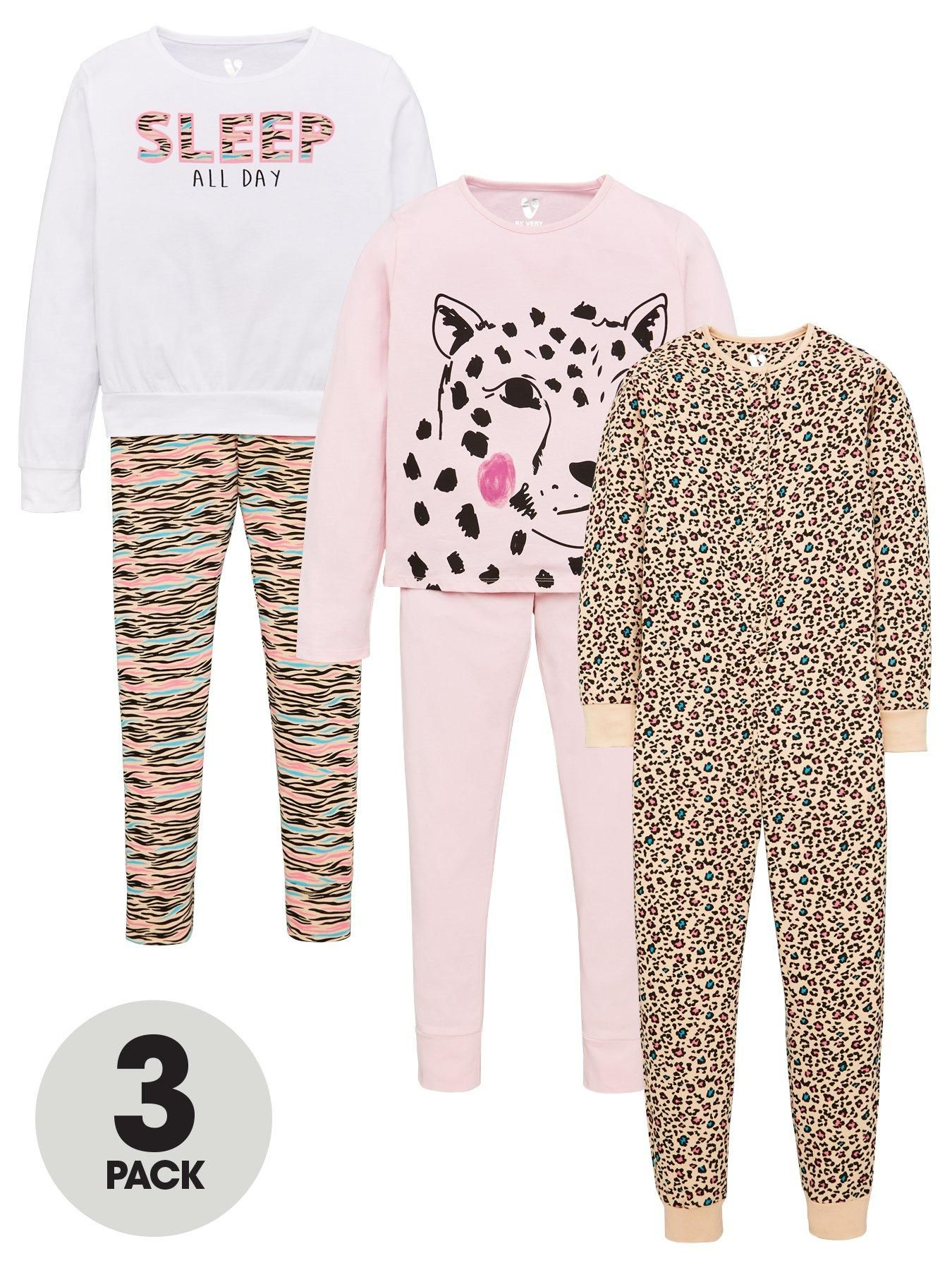 Girls 3 Pack Animal Print Pyjama Set Multi Print Pajamas