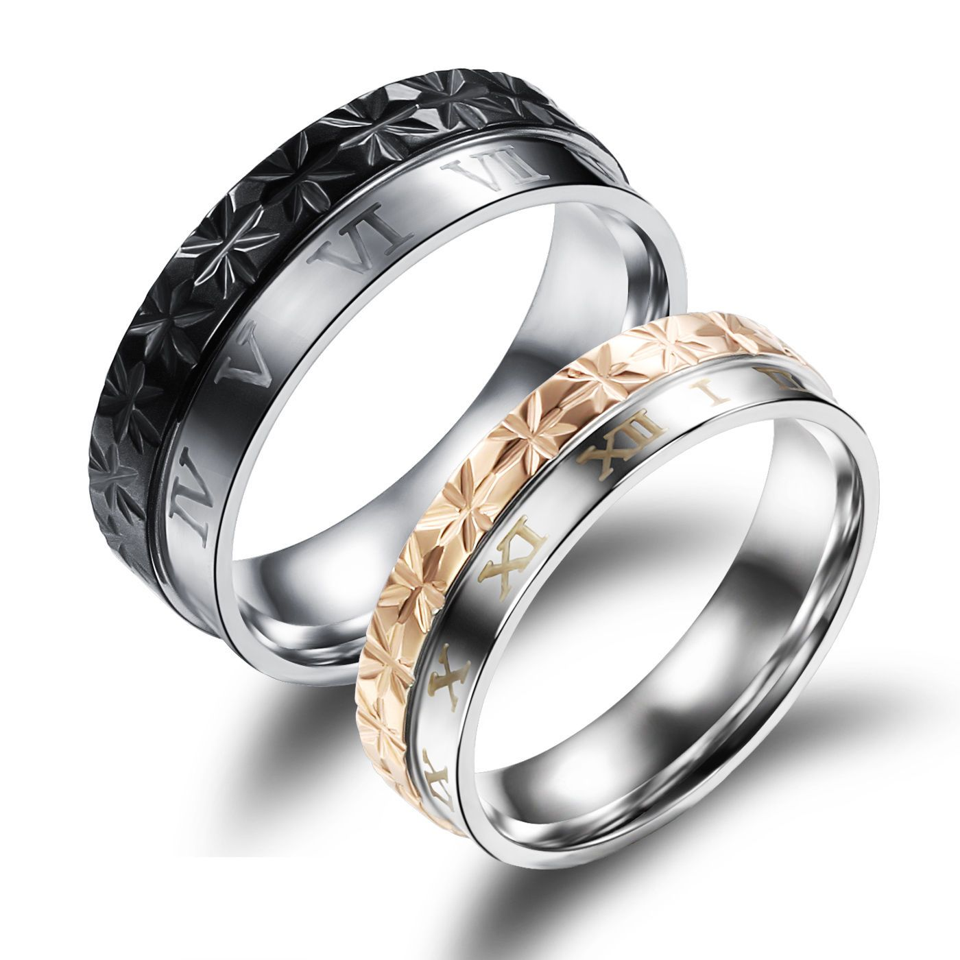 JC Fashion Jewelry Love Heart Matching Set Stainless Steel Wedding Bands His and Her Promise Rings