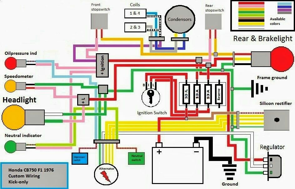 Wiring diagram kick only | CB 750 | Cb750 cafe, Honda