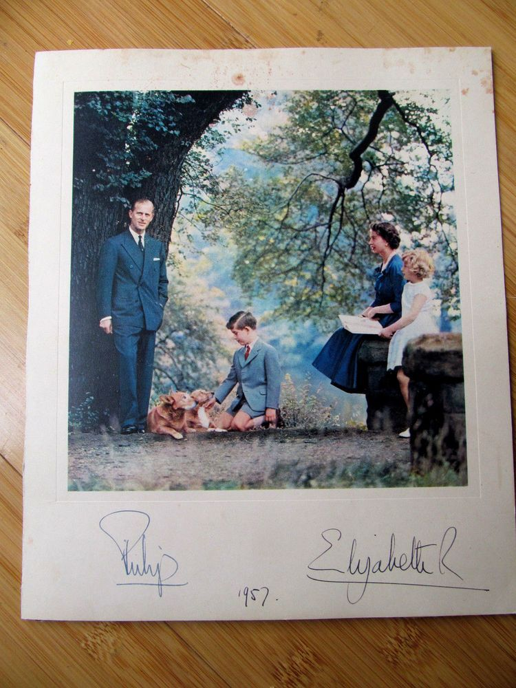1957 Queen SIGNED Photo Elizabeth & Philip With Charles & Anne in Collectibles, Historical Memorabilia, Royalty | eBay