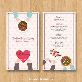 Flat Valentine S Day Menu Template For Freepik 2 Pinterest