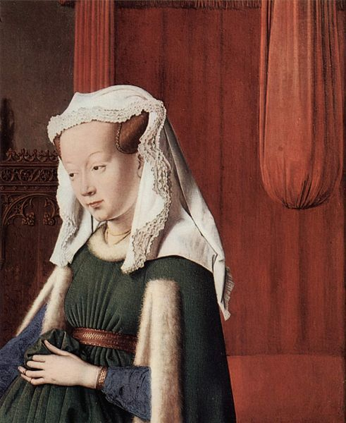 Jan van Eyck, Giovanna Cenami, esposa de Giovanni Arnolfini, detalle del Retrato de los Arnolfini, hacia 1434.