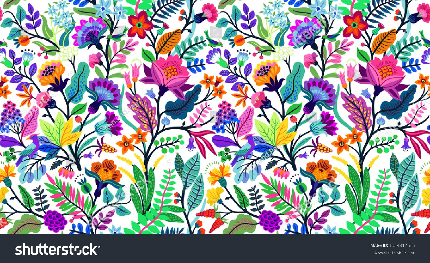 Seamless Floral Pattern With Bright Colorful Flowers And Tropic
