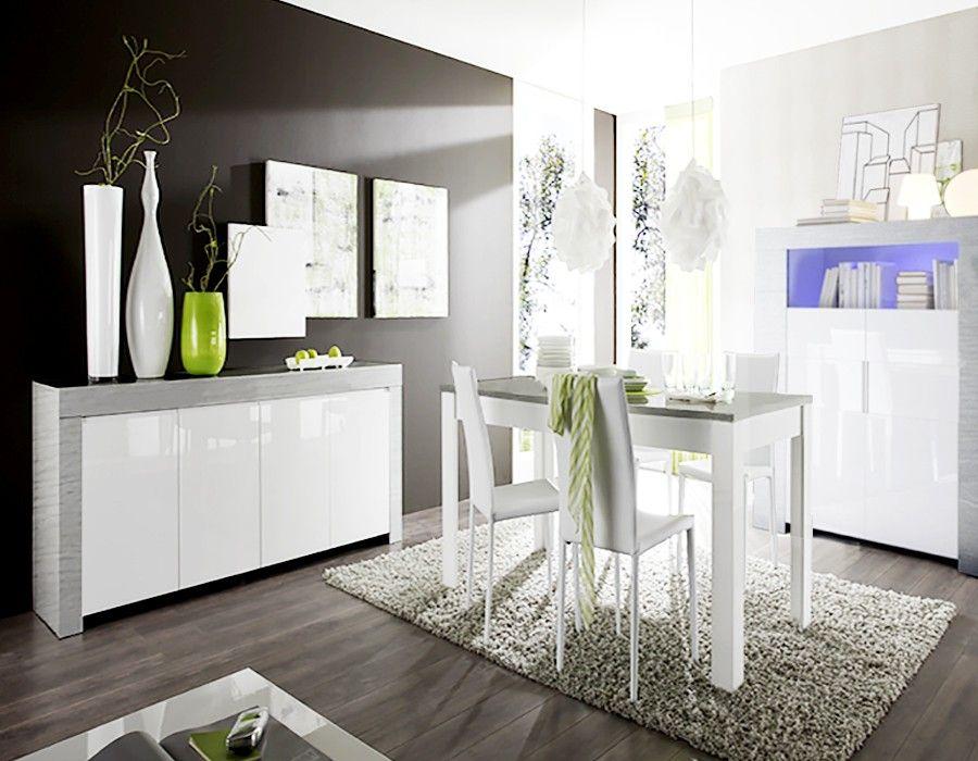 Salle à manger complète blanc laqué et bois gris moderne ...