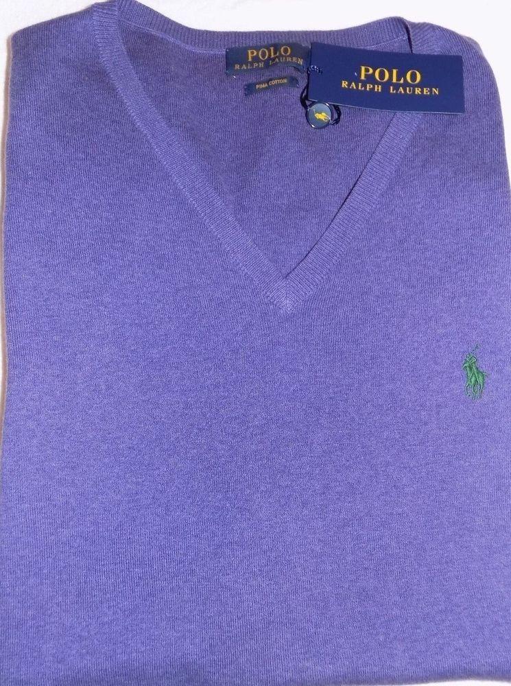 Xlt Lauren Cotton 100Pima Vest Nwt Polo Purple Sweater Ralph Sz QdxhrBtsCo