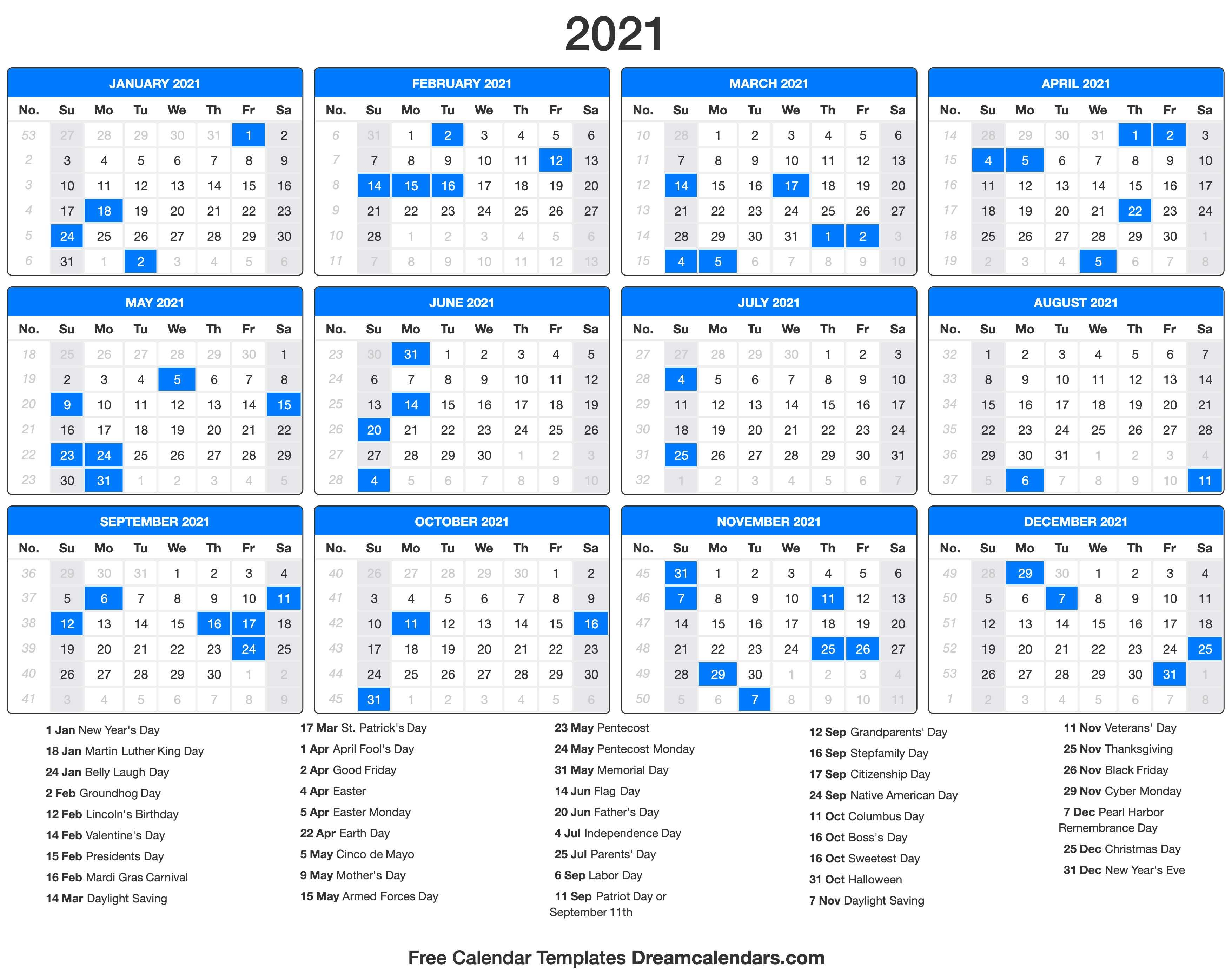 2021 Calendar with holidays Dream Calendars in 2020
