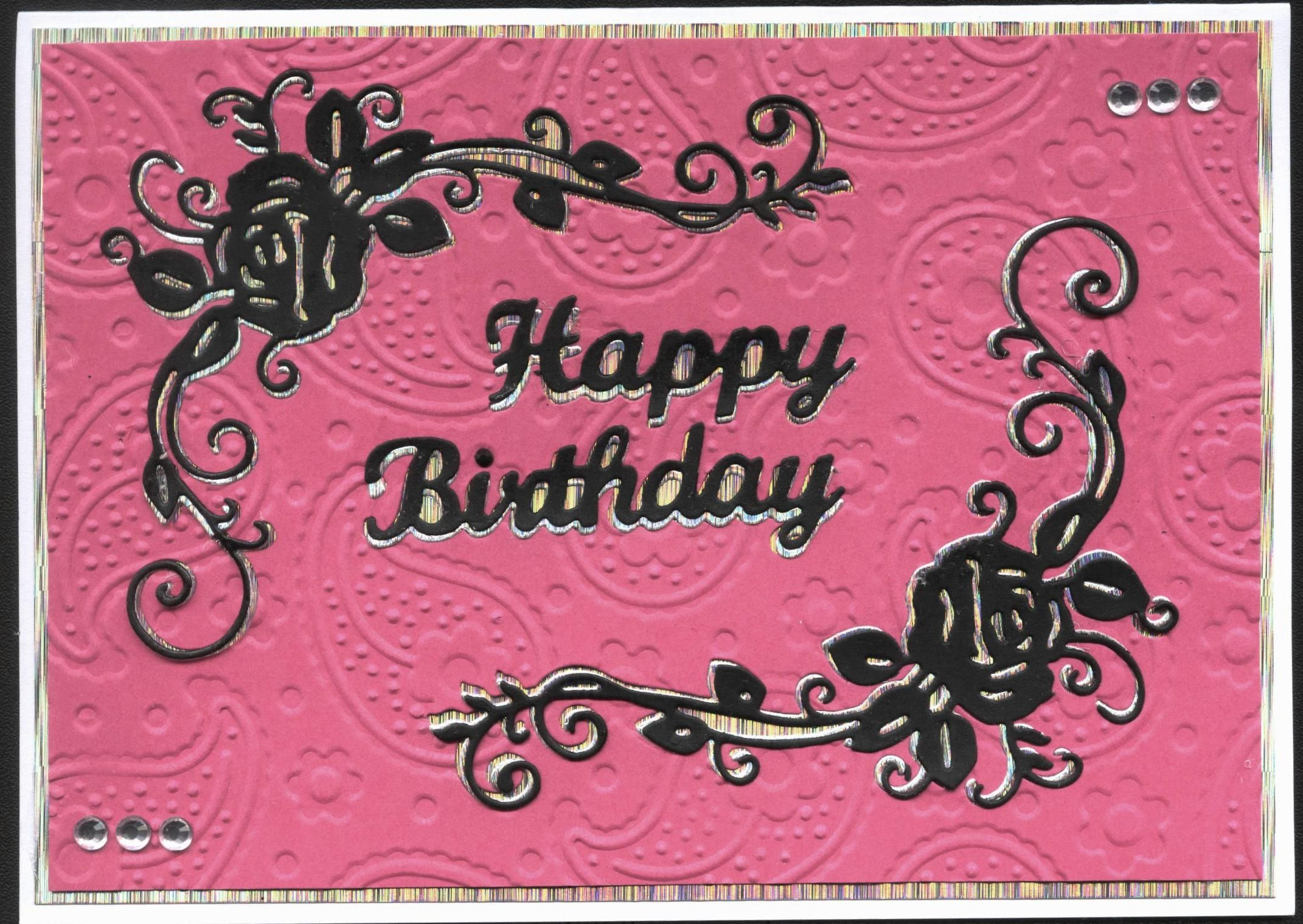 Tattered Lace Rose Birthday Card Pink Black and Silver