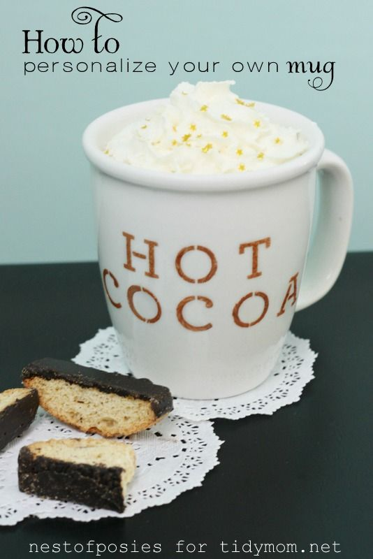 How to Personalize your own mug with Martha Stewart glass paint at TidyMom.net