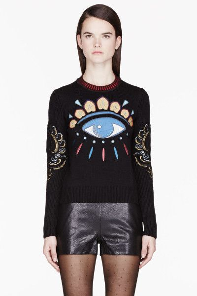 ffab628a Kenzo Eye Sweater | Kenzo Black and Gold Big Eye Embroidered Sweater in  Black - Lyst