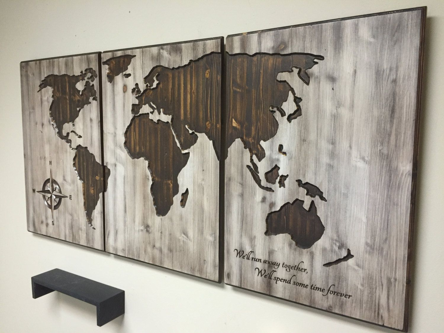 World Map Wood Wall Art world map home decor, wood wall art, wooden map, wooden, 3 panel