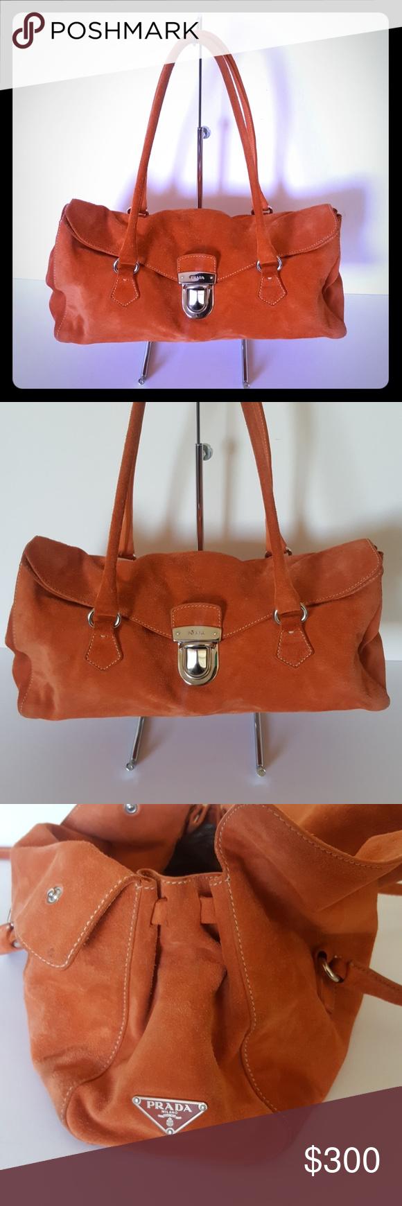 Prada Camoscio Easy Suede Bag Authentic Prada Mandarin Orange Suede Bag.  Beautiful bag that can be carried as a tote or shoulder bag. 05ad946f28