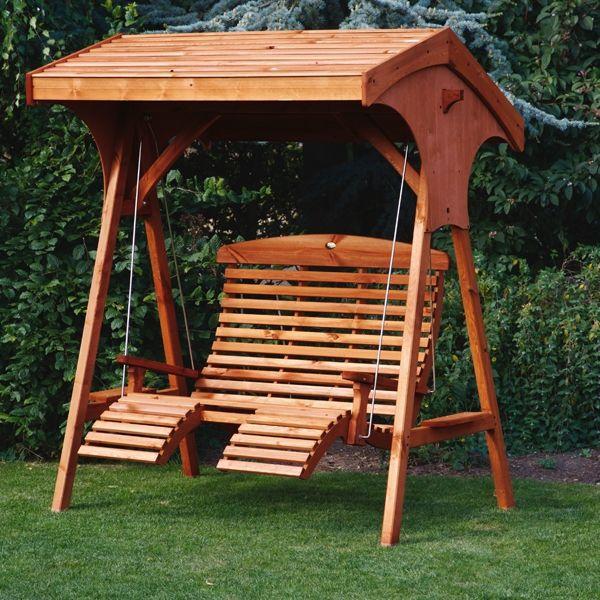AFK Roofed Comfort Wooden Garden Swing Seat UK Manufactured (Teak ...
