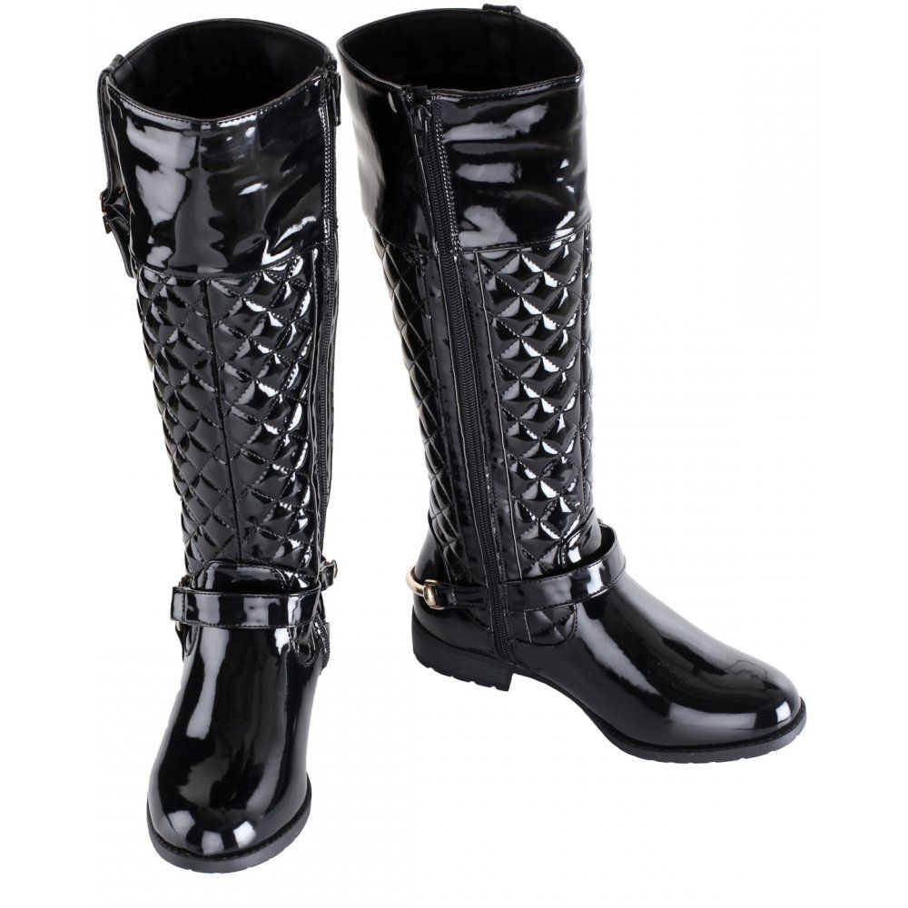 Women's Black Quilted Patent Gold Buckle Long Boots | I love my ... : quilted long boots - Adamdwight.com