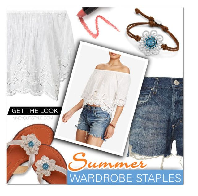"""""""Summer Staples"""" by hollied4purses ❤ liked on Polyvore featuring White Label, Ralph Lauren, AMO, Polo Ralph Lauren, Lapcos, DENIMCUTOFFS and eyelet"""