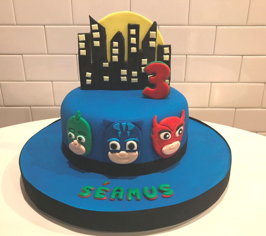 Samuss 3rd Birthday Pj Masks Cake This Is The Second Birthday Cake