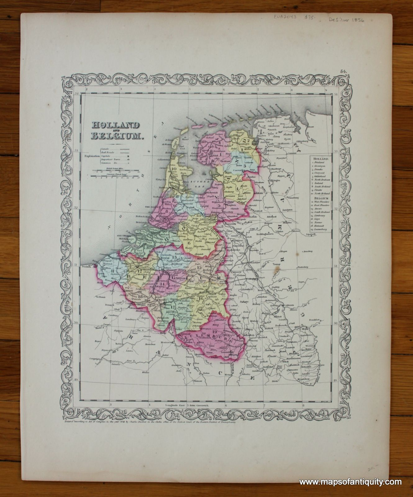 Antique 1856 map of Holland and Belgium with decorative border