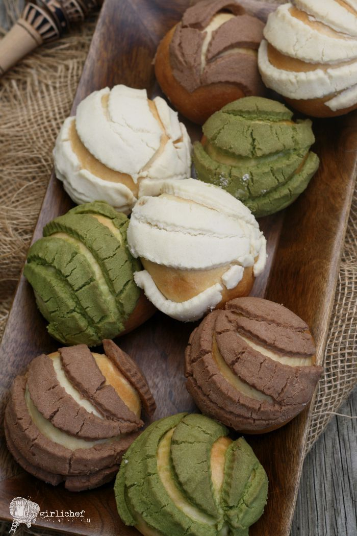 Conchas (without food dye) Mexican sweet breads, Food