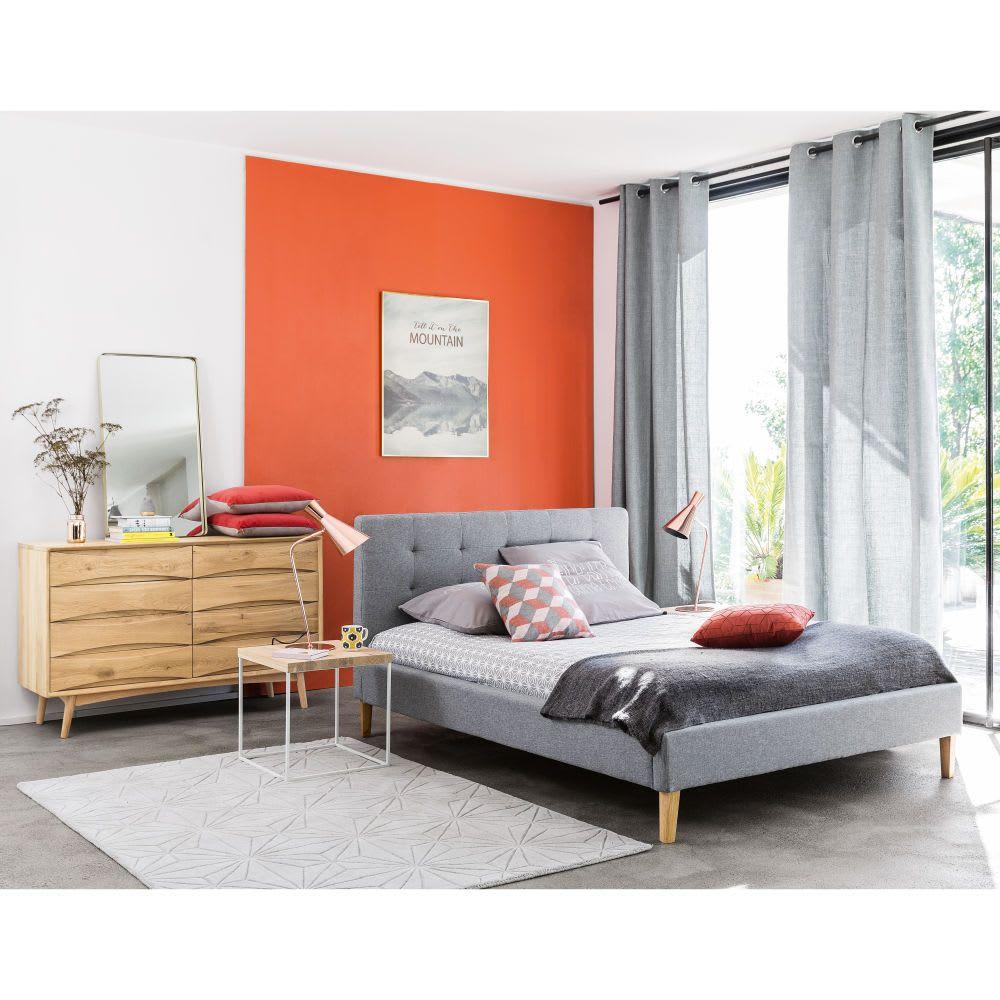 Bett mit CapitonnéSteppung und grauem Stoffbezug, 180 x