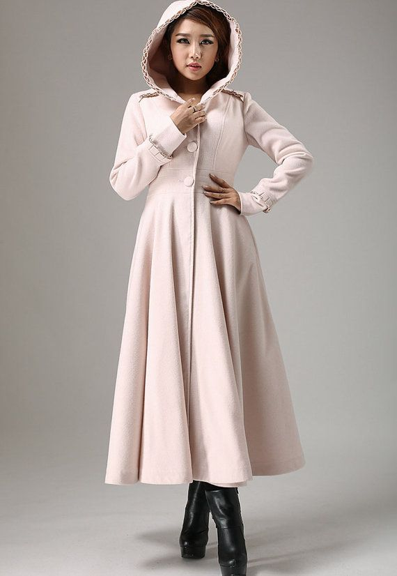 winter outwear Light white pink coat hooded coat Military coat ...