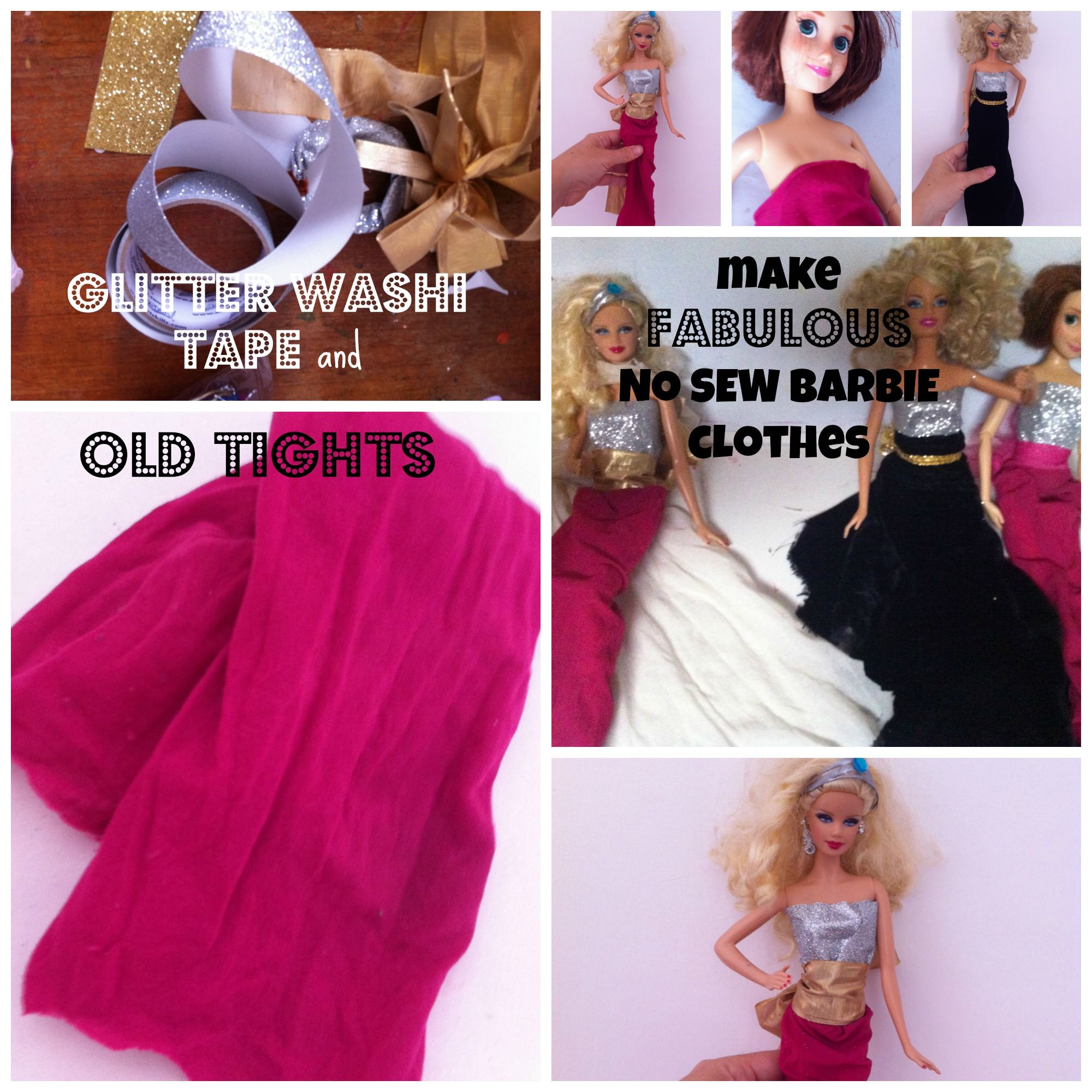 DIY no sew Barbie clothes kids' activity Sewing barbie