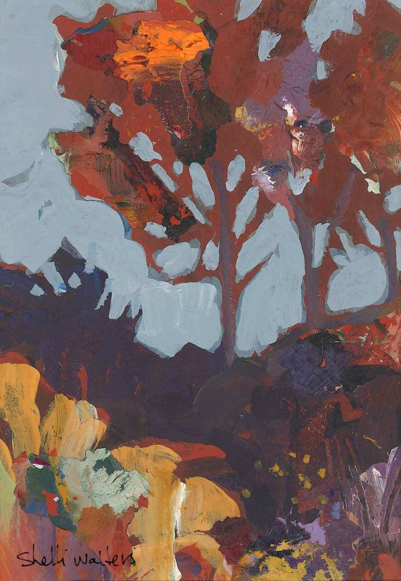 Red Trees Original 5x7 Painting