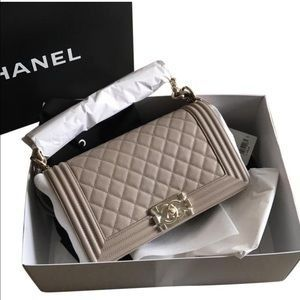 b7d2d81b066f CHANEL Handbags - Chanel Boy Bag Medium Nude w Light Gold Hardware for sale  on Poshmark