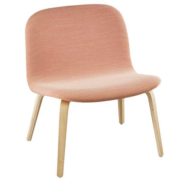 Photo of Muuto Visu lounge chair, upholstered, oak – coral