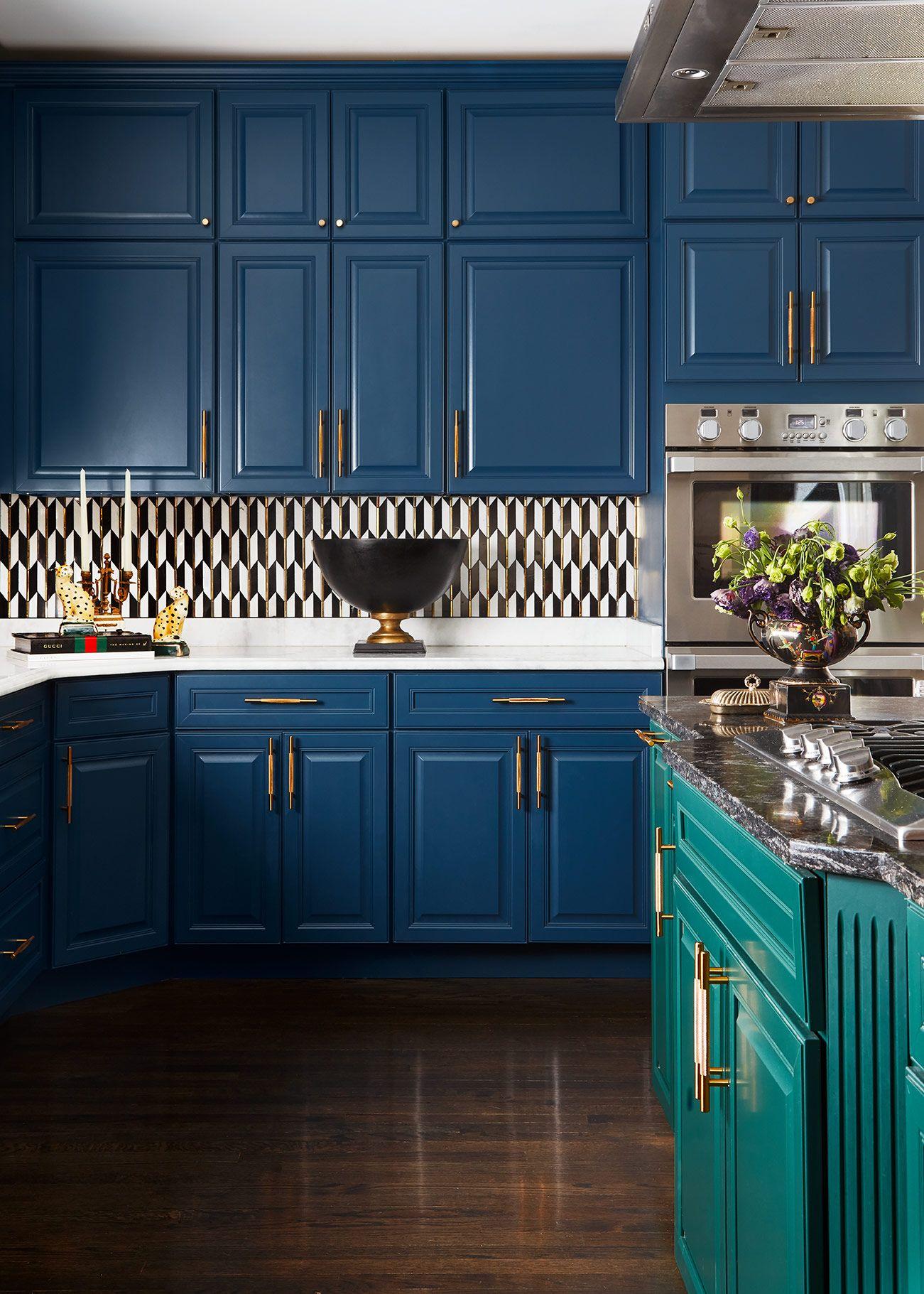 Oak Brook Bold and Beautiful Kitchen | Blue kitchen ...