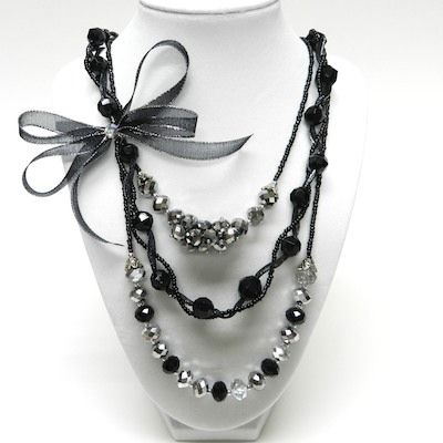Photo of Formal Necklace 3-Row with Mini Bowdabra Bow