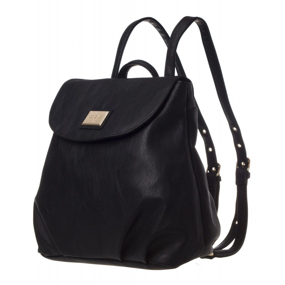 56d5a070e613 Argentina Backpack in black with gold name plate and trims from colette by colette  hayman
