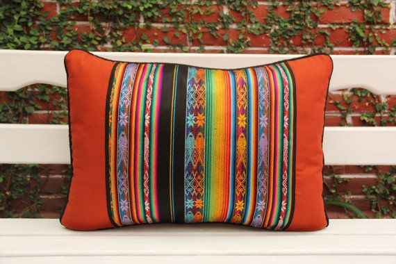 Lumbar Pillow with handwoven textiles accents and cotton canvas