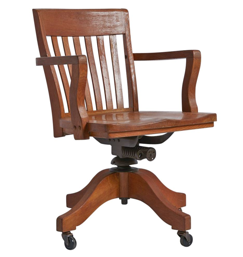Amber Stained Oak Office Chair W Casters