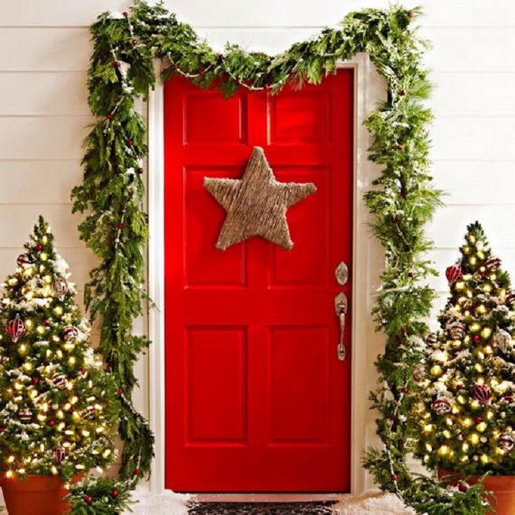 Red Christmas Door Decor with Green Garlands