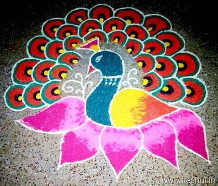 peacock rangoli | Coloring pages, Art for kids