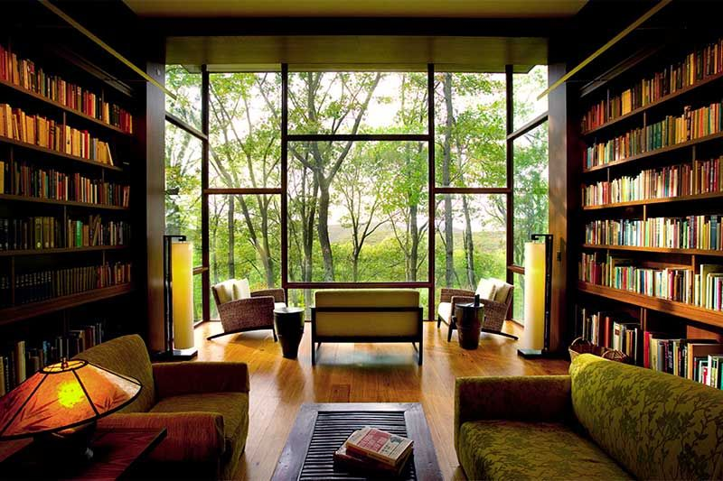 Ridge House: GRADE's Elegant Rustic Woodland Retreat for a Novelist | 6sqft