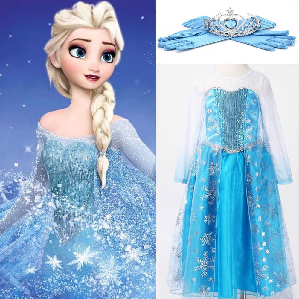 Princess Girl Queen Elsa Cosplay Costume Party Fancy Dress 3-10Year ...