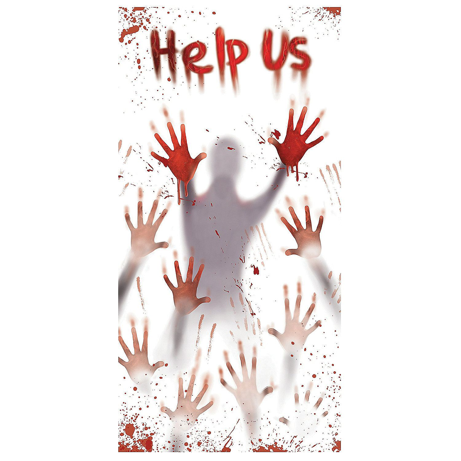 Plastic Zombie Help Us Door Cover - Halloween Office Decorations Ideas