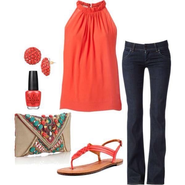 Jeans e top arancio