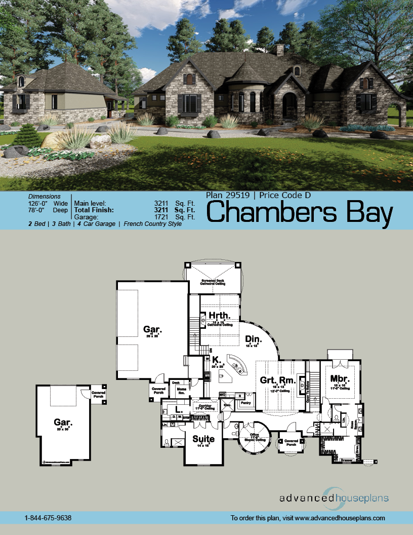 1 Story French Country House Plan Chambers Bay Country House Plans French Country House Plans French Country House