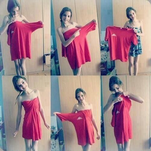 Simple Updates To Transform Your: Big T Shirt Can Turn Into A Dress!