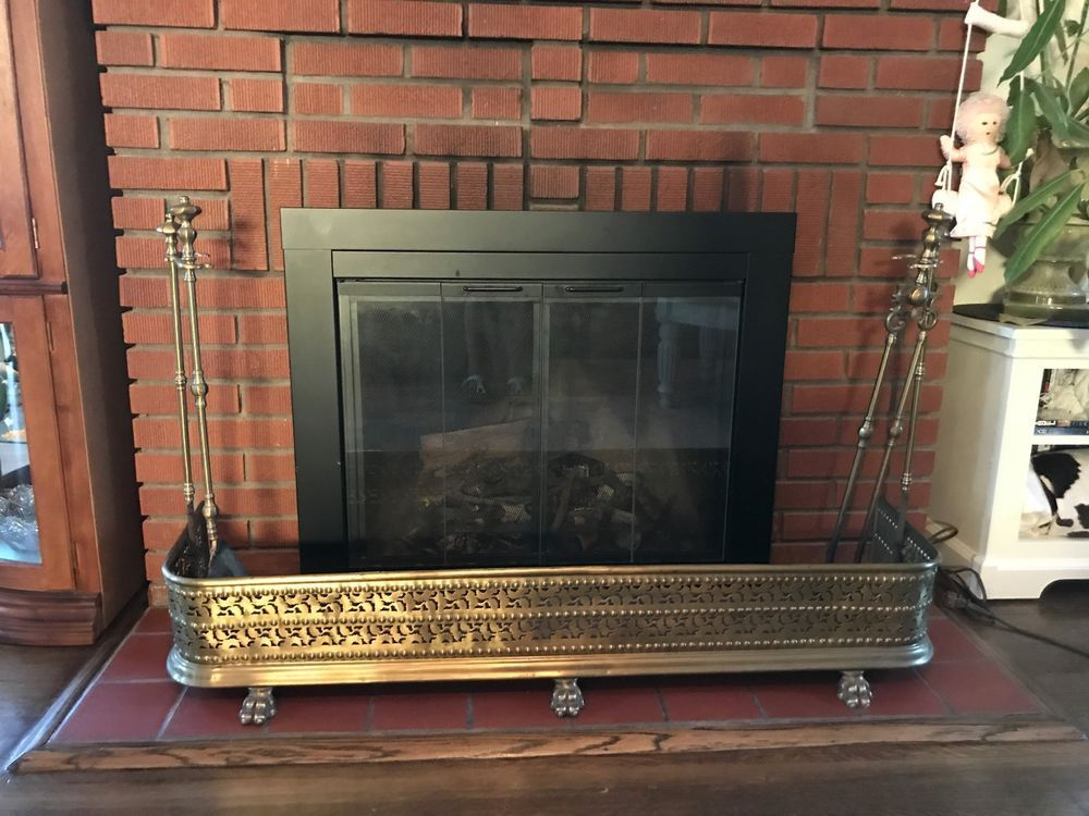 Antique Fireplace Fender Brass Fireplace Fender Guard Screen With