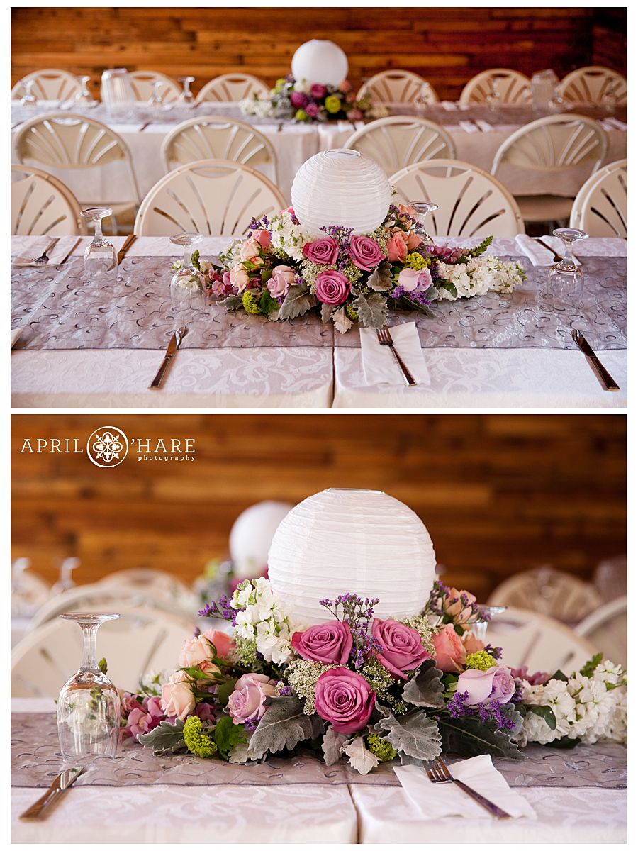 Beautiful Wedding Centerpieces With Paper Globes At Lower Lake