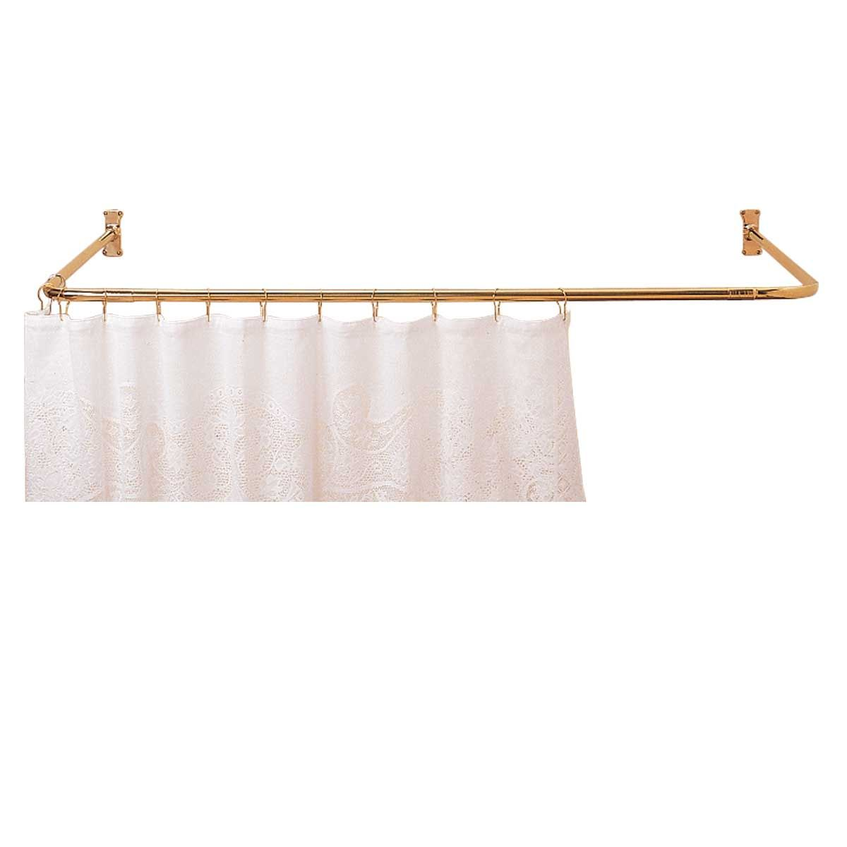 Shower Curtain Rod Bright Solid Brass 3 Sided Shower Curtain