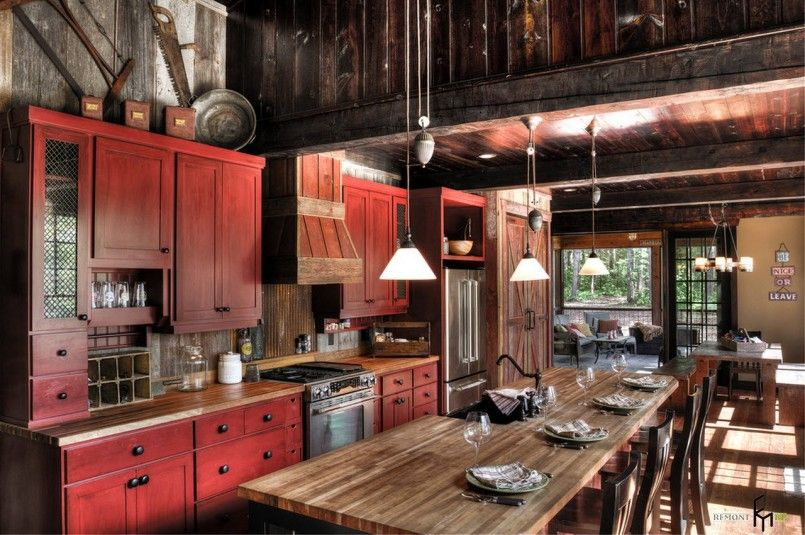 Kitchen Design Old Red Country Kitchen Design With Red ...