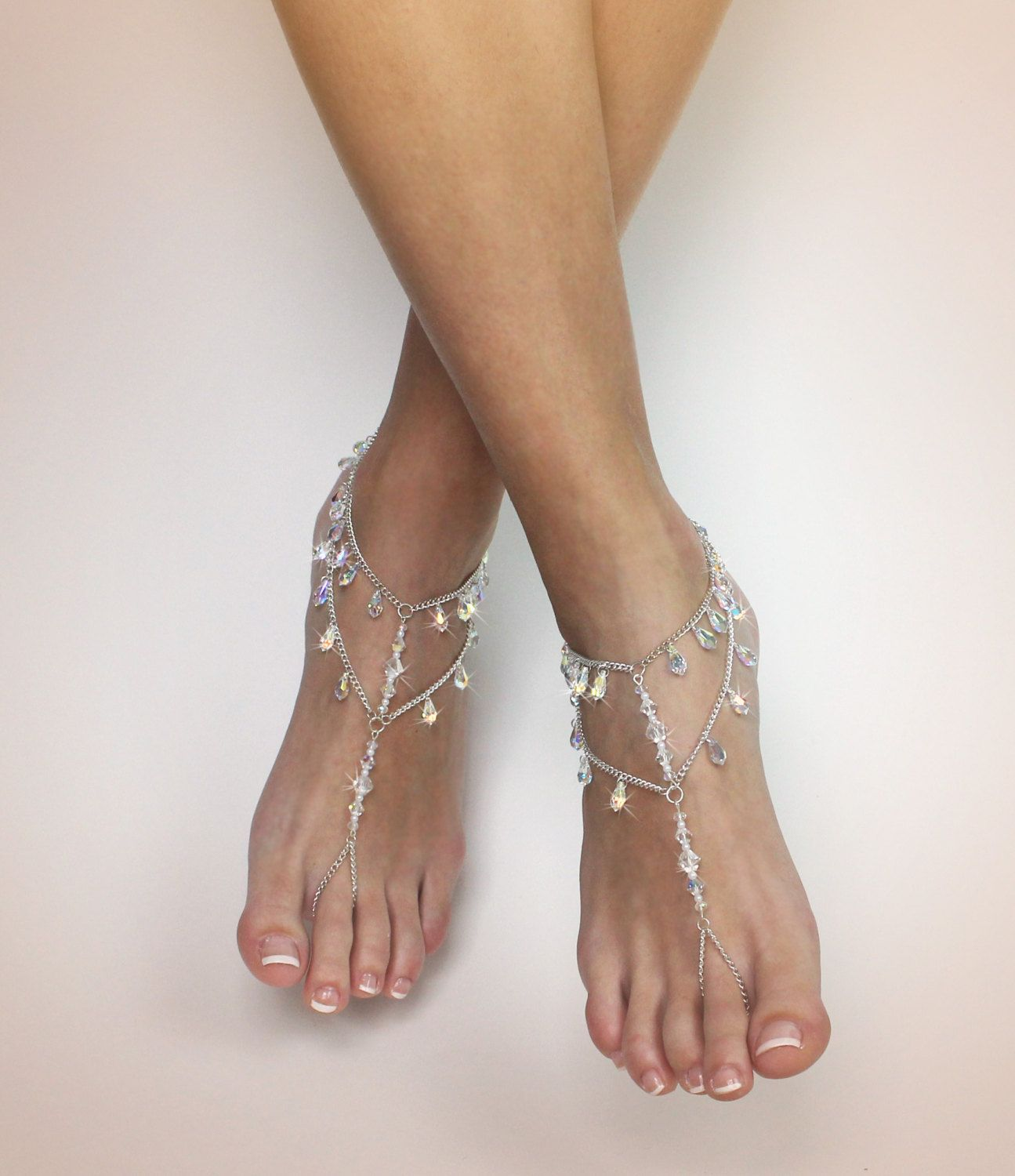 bridal pearls with barefoot silver ankle silvsuntbc sandal jewphenovo beach metal bracelet anklet wedding pearl phenovo caymancode jewelry