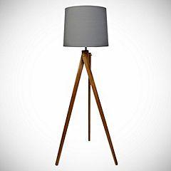 Wooden Tripod Floor Lamp With Grey Shade Floor Lamps