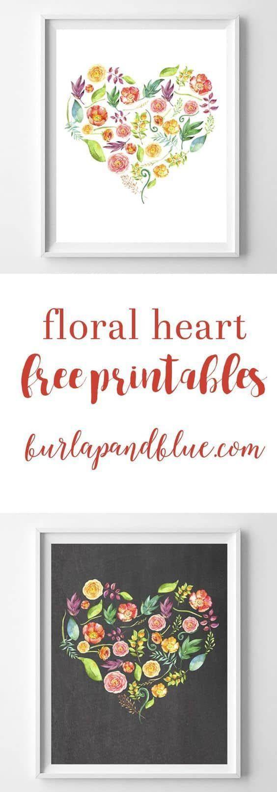 floral heart free printables | Printables | Free printable art