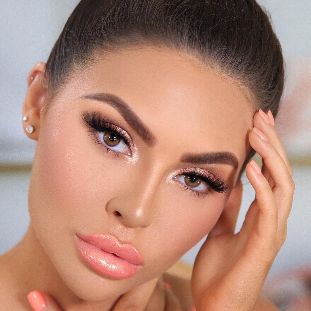 Beautiful luminous peach glam makeup ideas makeup